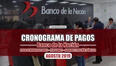 Pagos Banco de la Nacion Agosto 2019