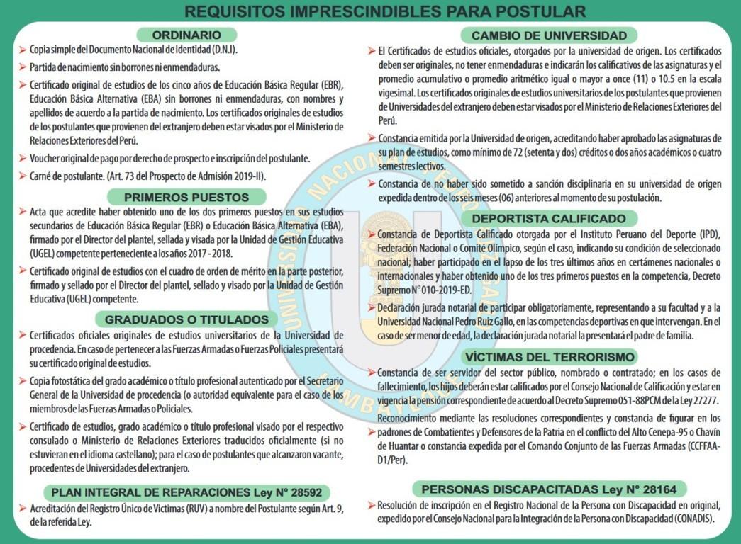 Requisitos para el proceso de admision unprg